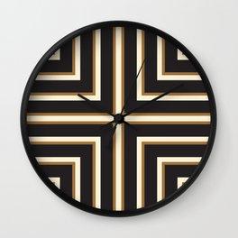 Black & Gold Stripes Wall Clock