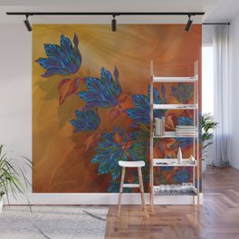 """Blue flowers on orange silk"" (Air Spring at night) Wall Mural"