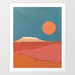 Mt Kilimanjaro in Teal, Orange and Pink Art Print