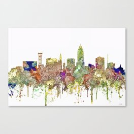 Lincoln, Nebraska Skyline - Faded Glory Canvas Print