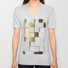 Elegant Cube wall 3D art- white and gold Unisex V-Neck