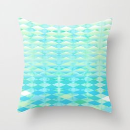 Aqua Watercolor With Ombre Harlequin Pattern Throw Pillow
