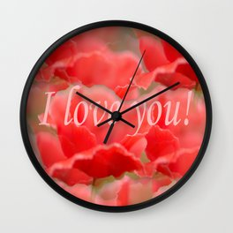 Love You! Red Poppies #decor #society6 Wall Clock