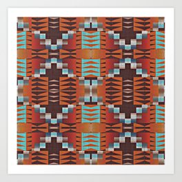 Native American Indian Tribal Mosaic Rustic Cabin Pattern Art Print