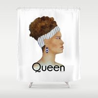 queen Shower Curtains featuring Queen by Nina Bryant Studio
