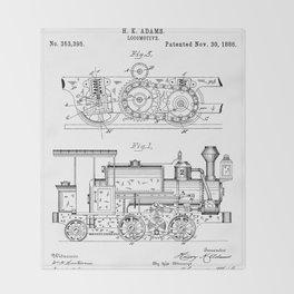 Steam Train Patent - Steam Locomotive Art - Black And White Throw Blanket
