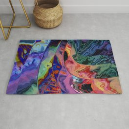 Quadruple rainbow wave Rug