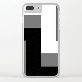 Geometric Black and White Pattern Clear iPhone Case