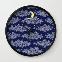 Night sky with a new moon Wall Clock