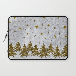 Sparkly Christmas tree, stars, moons on abstract paper Laptop Sleeve