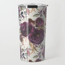 Pastel burgundy violet pink watercolor roses floral Travel Mug