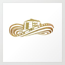 Colombian Sombrero Vueltiao in Gold Leaf Style Art Print