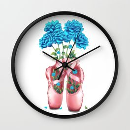 Pointe with peonies Wall Clock