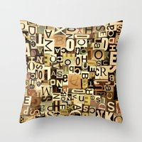 alphabet Throw Pillows featuring Alphabet by Kerri Swayze