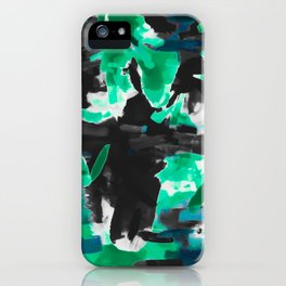psychedelic vintage camouflage painting texture abstract in green and black iPhone Case