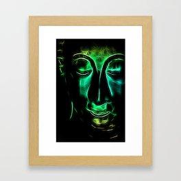 Buddha Facial greencyan Framed Art Print