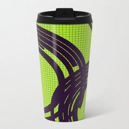 Black open rings on green Metal Travel Mug