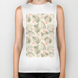 Pastel green blush coral vector tropical floral pattern Biker Tank