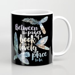Between The Pages - Feathery Black Coffee Mug