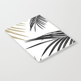 Gold Black Palm Leaves Dream #1 #tropical #decor #art #society6 Notebook