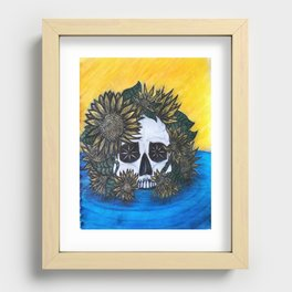 Skull and Sunflowers Recessed Framed Print