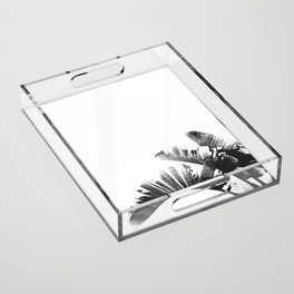 Palm leaves black and white tropical watercolor Acrylic Tray
