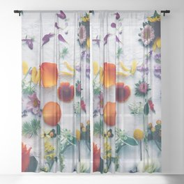 Assorted Flowers Sheer Curtain