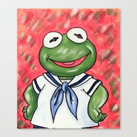 kermit Canvas Prints featuring Baby Kermit by MSG Imaging