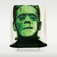 frankenstein Shower Curtains featuring Frankenstein  by Bonez Designz