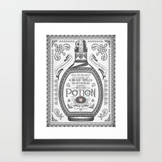 Legend of Zelda Red Potion Vintage Hyrule Line Work Letterpress Framed Art Print
