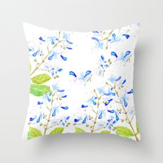 blue butterfly flowers arrangement watercolor Throw Pillow