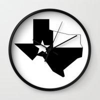 texas Wall Clocks featuring TEXAS by Fool design