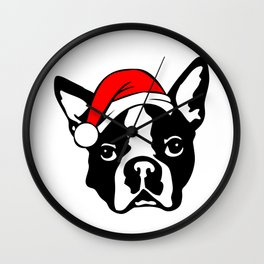 Boston Terrier Dog with Christmas Santa Hat Wall Clock