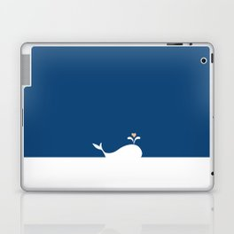 Whale in Blue Ocean with a Love Heart Laptop & iPad Skin