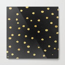 Golden Copper Dots Pattern Metal Print