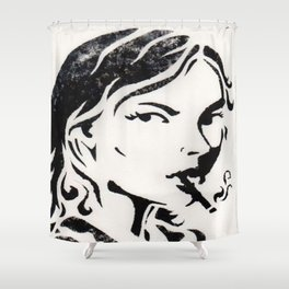 WOMAN SMOKING A CIGARETTE Shower Curtain