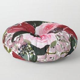 Burgundy Rose Flower Bouquet Watercolor Painting - Purple Palette Floor Pillow