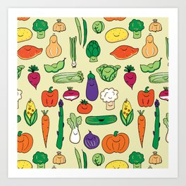 Cute Smiling Happy Veggies on beige background Art Print