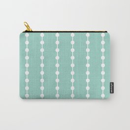 Geometric Droplets Pattern Linked - Pastel Green and White Carry-All Pouch