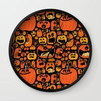 pumpkin Wall Clocks featuring Pumpkin Pattern by Chris Piascik