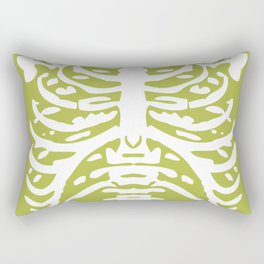 Human Rib Cage Pattern Chartreuse Green 2 Rectangular Pillow