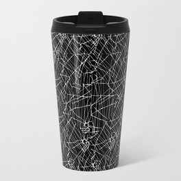 Linear Abstract Black and White Travel Mug