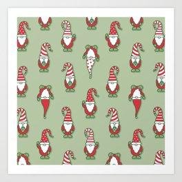 North Pole Gnomes (Green) Art Print