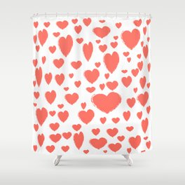 Living Coral scattered Hearts Shower Curtain