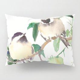 Chickadees, birds on tree, bird design neutral colors Pillow Sham