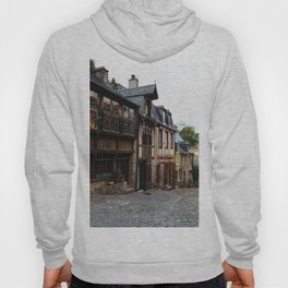 Old street in the town of Dinan at dusk Hoody