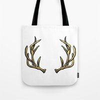 antlers Tote Bags featuring Antlers by Climbing Mountains