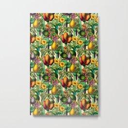 Elegant Retro Fruit and Flower Garden Metal Print