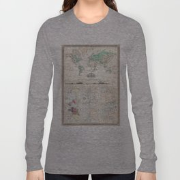 Vintage Physical & Climate Map of The World (1870) Long Sleeve T-shirt