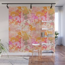 Abstract Paint Splatters Pink & Orange Wall Mural